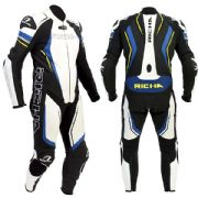 Richa Francorchamps 1 Piece Leather Suit Black/Blue/Fluo